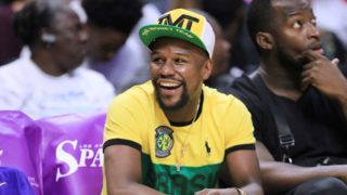 LOS ANGELES, CA - AUGUST 14:  Boxer Floyd Mayweather Jr. attends the New York Liberty vs the Los Angeles Sparks WNBA basketball game at Staples Center on August 14, 2018 in Los Angeles, California.  (Photo by Leon Bennett/Getty Images)
