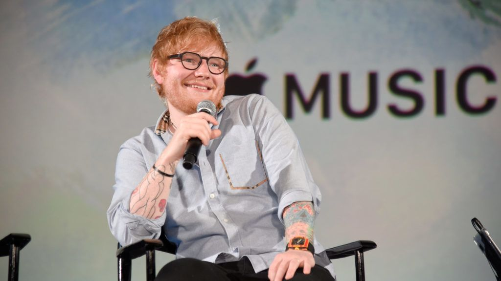 """HOLLYWOOD, CA - AUGUST 27:  Ed Sheeran speaks onstage at Apple Music Presents """"Songwriter"""" With Ed Sheeran in Los Angeles at ArcLight Cinemas Cinerama Dome on August 27, 2018 in Hollywood, California.  (Photo by Kevin Mazur/Getty Images for Apple Music)"""