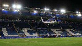 LEICESTER, ENGLAND - AUGUST 28: A general view of King Power Stadium as the helicopter owned by Leicester City Chairman/owner Vichai Srivaddhanaprabha lands on the pitch during the Carabao Cup Second Round match between Leicester City and Fleetwood Town at The King Power Stadium on August 28, 2018 in Leicester, England. (Photo by Marc Atkins/Getty Images)