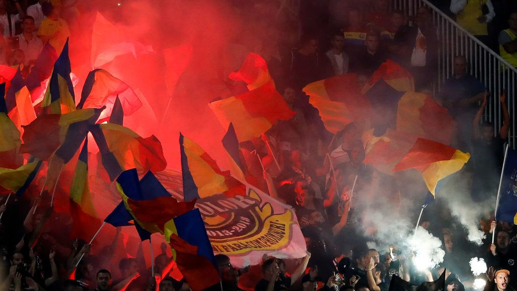 BELGRADE, SERBIA - SEPTEMBER 10: Supporters of Romania cheer for their team during the UEFA Nations League C group four match between Serbia and Romania at stadium Partizan on September 10, 2018 in Belgrade, Serbia. (Photo by Srdjan Stevanovic/Getty Images)