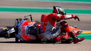 Crash of Jorge Lorenzo (99) of Spain and Ducati Team during race day of the Gran Premio Movistar de Aragon of world championship of MotoGP at Motorland Aragon Circuit on September 23, 2018 in Alcaniz, Spain. (Photo by Jose Breton/NurPhoto via Getty Images)