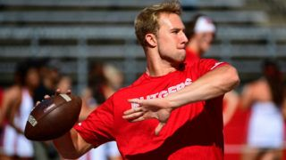 PISCATAWAY, NJ - SEPTEMBER 29: Artur Sitkowski #8 of the Rutgers Scarlet Knights looks to throw before the game against the Indiana Hoosiers at HighPoint.com Stadium on September 29, 2018 in Piscataway, New Jersey. (Photo by Corey Perrine/Getty Images)