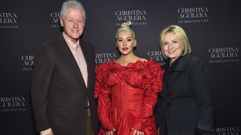 NEW YORK, NY - OCTOBER 03:  (L-R) Former U.S. President Bill Clinton, Christina Aguilera, and former U.S. Secretary of State Hillary Clinton pose backstage during Christina Aguilera: The Liberation Tour at Radio City Music Hall on October 3, 2018 in New York City.  (Photo by Kevin Mazur/Getty Images for Live Nation)