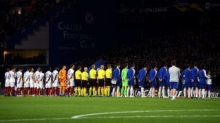 LONDON, ENGLAND - OCTOBER 04:  General view inside the stadium as the teams line up prior to the UEFA Europa League Group L match between Chelsea and Vidi FC at Stamford Bridge on October 4, 2018 in London, United Kingdom.  (Photo by Mike Hewitt/Getty Images)