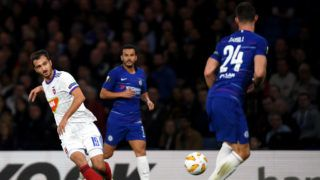 LONDON, ENGLAND - OCTOBER 04:  Boban Nikolov of MOL Vidi FC shoots during the UEFA Europa League Group L match between Chelsea and Vidi FC at Stamford Bridge on October 4, 2018 in London, United Kingdom.  (Photo by Mike Hewitt/Getty Images)