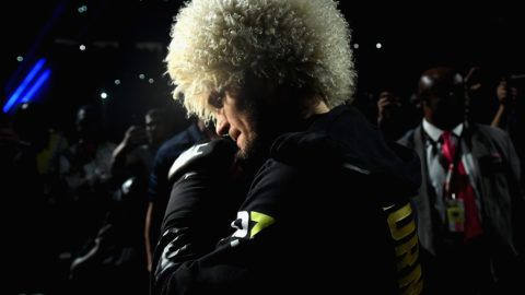 LAS VEGAS, NV - OCTOBER 06:  Khabib Nurmagomedov of Russia makes his entrance before competing against Conor McGregor of Ireland in their UFC lightweight championship bout during the UFC 229 event inside T-Mobile Arena on October 6, 2018 in Las Vegas, Nevada.  (Photo by Harry How/Getty Images)