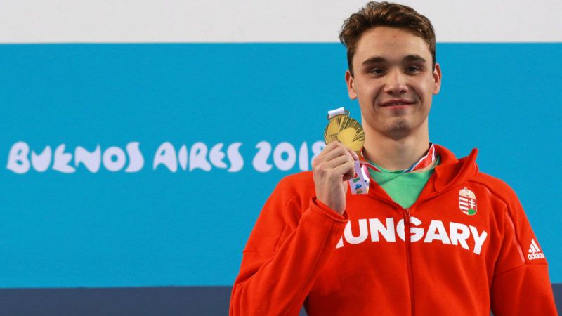 BUENOS AIRES, ARGENTINA - OCTOBER 07: Kristof Milak of Hungary poses with his gold medalduring the medal ceremony of Mens 400 Freestyle on Day 1 of the Buenos Aires 2018 Youth Olympic Games at Aquatics Center of the Youth Olympic Park on October 07, 2018 in Buenos Aires, Argentina. (Photo by Buda Mendes/Getty Images)