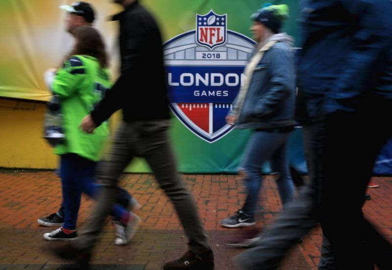 LONDON, ENGLAND - OCTOBER 14: Fans arrive at the stadium prior to the NFL International series match between Seattle Seahawks and Oakland Raiders at Wembley Stadium on October 14, 2018 in London, England.  (Photo by James Chance/Getty Images)