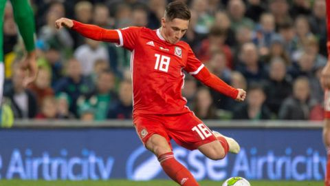 Harry Wilson of Wales scores with a free-kick during the UEFA Nations League B match between Republic of Ireland and Wales at Aviva Stadium in Dublin, Ireland on October 16, 2018 (Photo by Andrew Surma/NurPhoto via Getty Images)