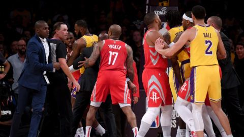 LOS ANGELES, CA - OCTOBER 20:  Chris Paul #3 of the Houston Rockets is restrained by LeBron James #23 of the Los Angeles Lakers after a fight involving Rajon Rondo #9 and Brandon Ingram #14 of the Los Angeles Lakers during a 124-1115 Rockets win at Staples Center on October 20, 2018 in Los Angeles, California.  (Photo by Harry How/Getty Images)