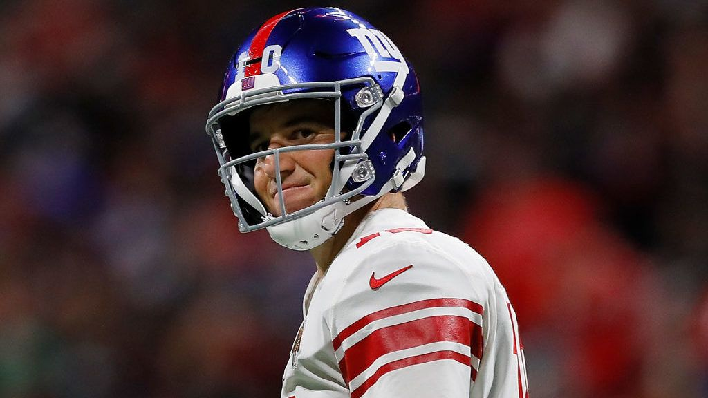 ATLANTA, GA - OCTOBER 22:  Eli Manning #10 of the New York Giants reacts after being sacked by the Atlanta Falcons at Mercedes-Benz Stadium on October 22, 2018 in Atlanta, Georgia.  (Photo by Kevin C. Cox/Getty Images)