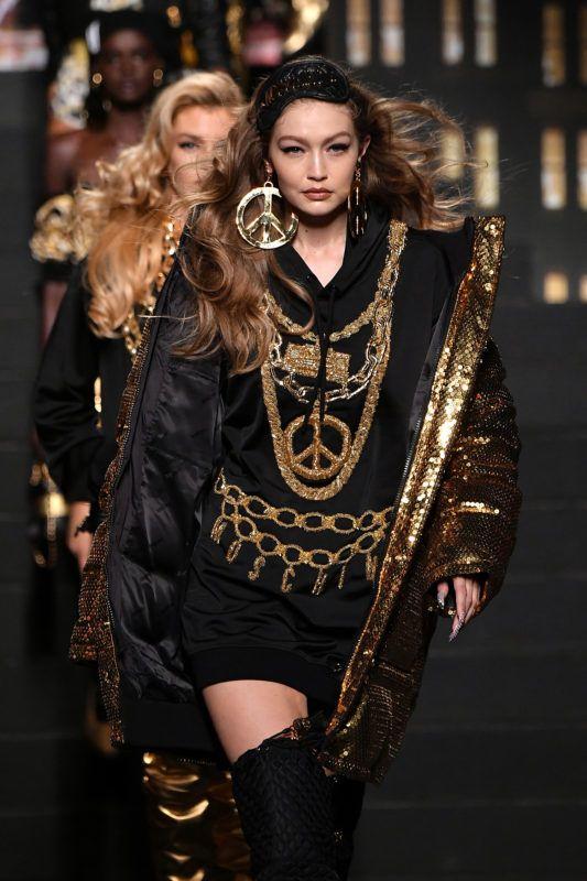 NEW YORK, NY - OCTOBER 24:  Gigi Hadid walks the runway during the Moschino x H
