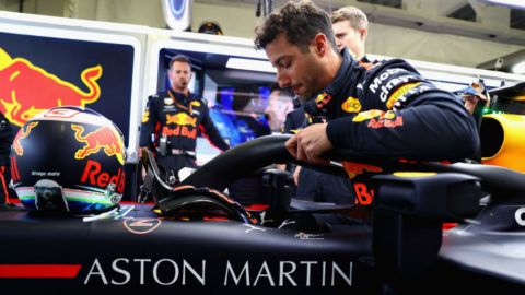 MEXICO CITY, MEXICO - OCTOBER 28: Daniel Ricciardo of Australia and Red Bull Racing prepares to drive in the garage before the Formula One Grand Prix of Mexico at Autodromo Hermanos Rodriguez on October 28, 2018 in Mexico City, Mexico.  (Photo by Mark Thompson/Getty Images)