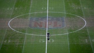 LONDON, ENGLAND - OCTOBER 29:  The NFL logo is seen on the pitch prior to the Premier League match between Tottenham Hotspur and Manchester City at Tottenham Hotspur Stadium on October 29, 2018 in London, United Kingdom.  (Photo by Clive Rose/Getty Images)