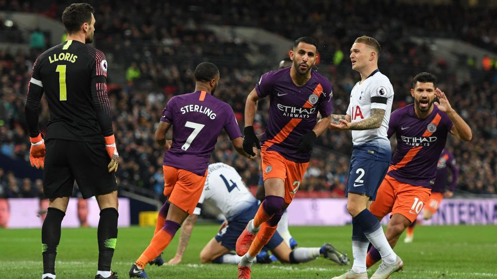 LONDON, ENGLAND - OCTOBER 29: Manchester City's Riyadh Mahrez scores the opening goal during the Premier League match between Tottenham Hotspur and Manchester City at Tottenham Hotspur Stadium on October 29, 2018 in London, United Kingdom. (Photo by Ashley Western/MB Media/Getty Images)
