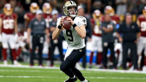 NEW ORLEANS, LA - OCTOBER 08:  Drew Brees #9 of the New Orleans Saints drops back to pass during a game against the Washington Redskins at the Mercedes-Benz Superdome on October 8, 2018 in New Orleans, Louisiana.  (Photo by Sean Gardner/Getty Images)