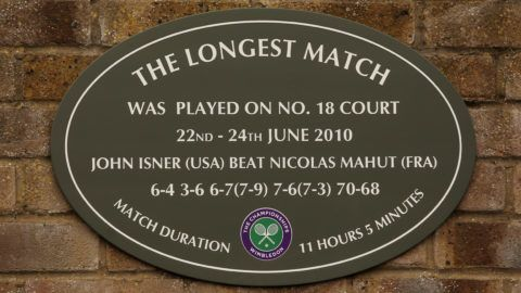 LONDON, ENGLAND - JUNE 20:  A view of the plaque hanging outside court 18 stating 'The Longest Match' in honor of the match played by John Isner and Nicolas Mahut during Wimbledon 2010 at the All England Lawn Tennis and Croquet Club on June 20, 2011 in London, England.  (Photo by Oli Scarff/Getty Images)