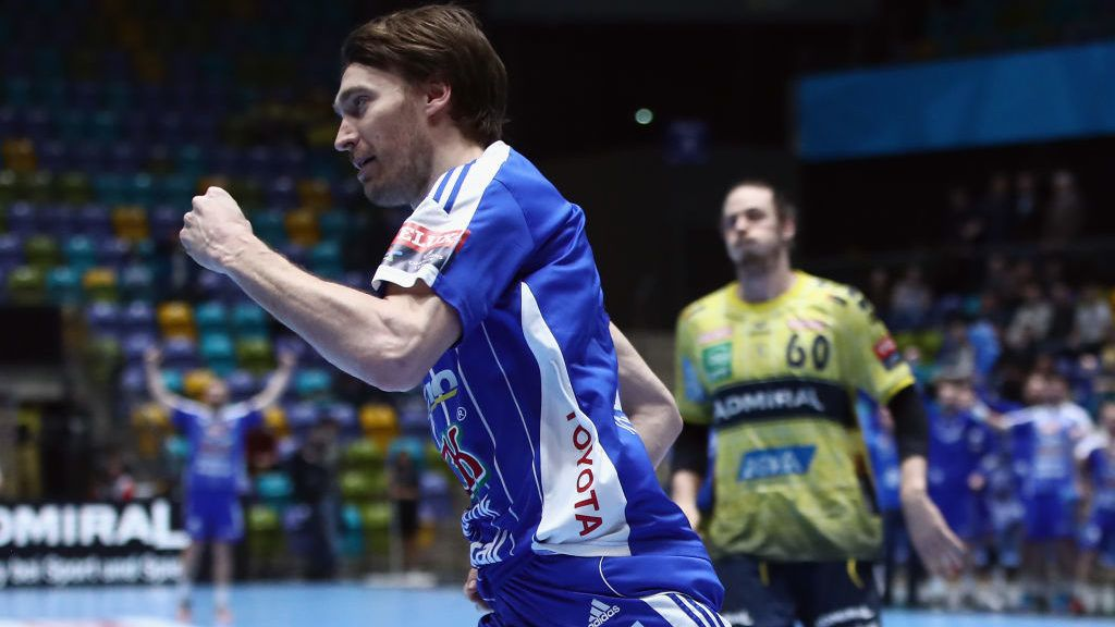 FRANKFURT AM MAIN, GERMANY - MARCH 08: Jonas Kaellman of Szeged celebrates a goal during the EHF Champions League match between Rhein Neckar Loewen and Mol-Pick Szeged at Fraport-Arena on March 8, 2017 in Frankfurt am Main, Germany.  (Photo by Alex Grimm/Bongarts/Getty Images)