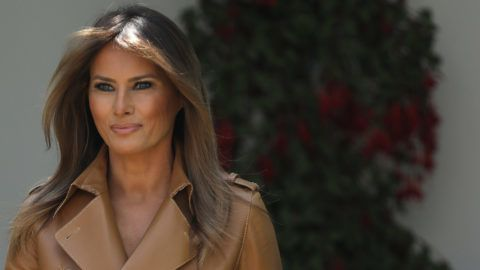 WASHINGTON, DC - MAY 07:  U.S. first lady Melania Trump arrives in the Rose Garden to speak at the White House May 7, 2018 in Washington, DC. Trump outlined her new initiatives, known as the Be Best program, as first lady during the event.  (Photo by Win McNamee/Getty Images)