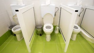 Small toilets for kids in a kindergarten.