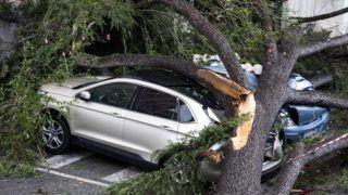 Róma, 2018. október 29. Összezúzott autók egy szélviharban kidõlt fa alatt Rómában 2018. október 29-én. Több olasz nagyvárosban is tanítási szünetet rendeltek erre a napra a térségben tomboló heves viharok miatt. MTI/EPA/ANSA/Angelo Carconi