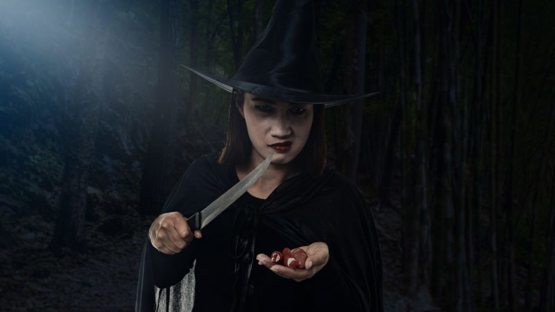Portrait of woman in black Scary witch halloween costume, Holding a knife with moonlight in a dark forest. Assassin themes