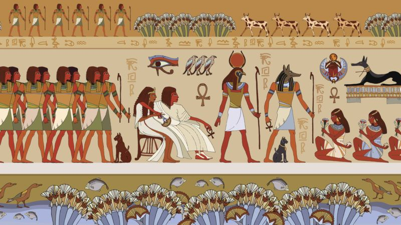 Egyptian gods and pharaohs. Ancient Egypt scene, mythology. Hieroglyphic carvings on the exterior walls of an ancient temple. Murals ancient Egypt.