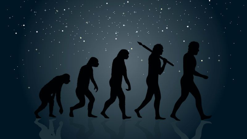 Evolution of Man into a modern (digital) world. Space in the background.