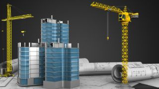 3d illustration of city quarter construction with crane over black background