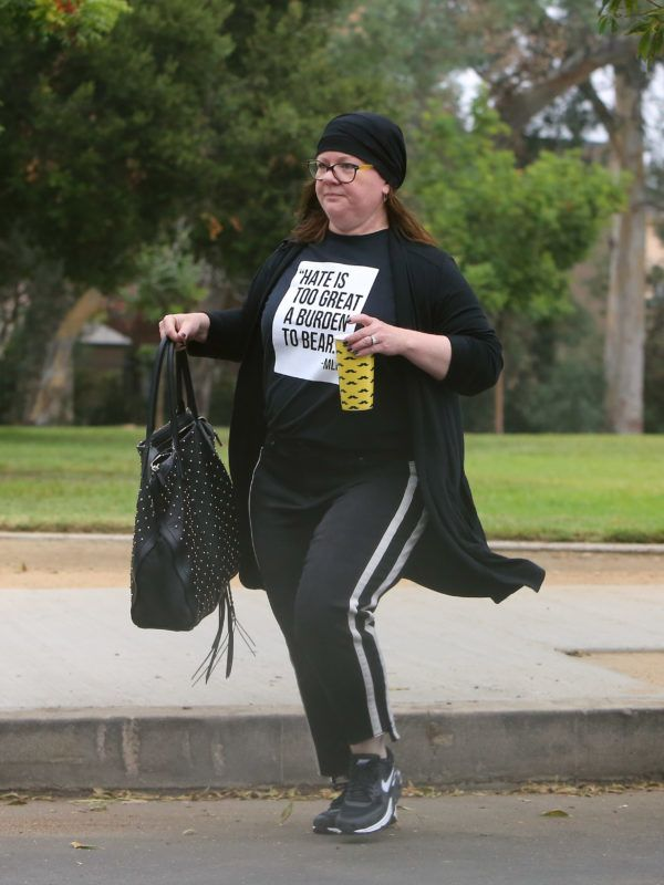 10/03/2018 EXCLUSIVE: Melissa McCarthy looks great after a recent significant weight loss. The 48 year old actress stepped out in Los Angeles wearing a black bandana, statement t-shirt, track pants, and Nike trainers.  sales@theimagedirect.com Please byline:TheImageDirect.com  *EXCLUSIVE PLEASE EMAIL sales@theimagedirect.com FOR FEES BEFORE USE October 3, 2018