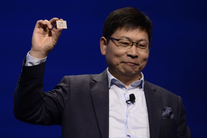 Huawei CEO  Richard Yu gives a press conference to present the new Huawei Balong 5G01, a 3GPP 5G commercial chipset on February 25, 2018 in Barcelona, on the eve of the inauguration of the Mobile World Congress (MWC). - The Mobile World Congress, the world's biggest mobile fair, is held in Barcelona from February 26 to March 1. (Photo by Josep LAGO / AFP)