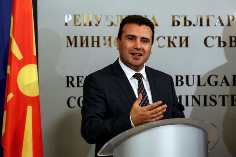 Macedonian Prime Minister Zoran Zaev speaks during a joint press conference with his Bulgarian counterpart in Sofia on November 15, 2018. (Photo by STR / AFP)