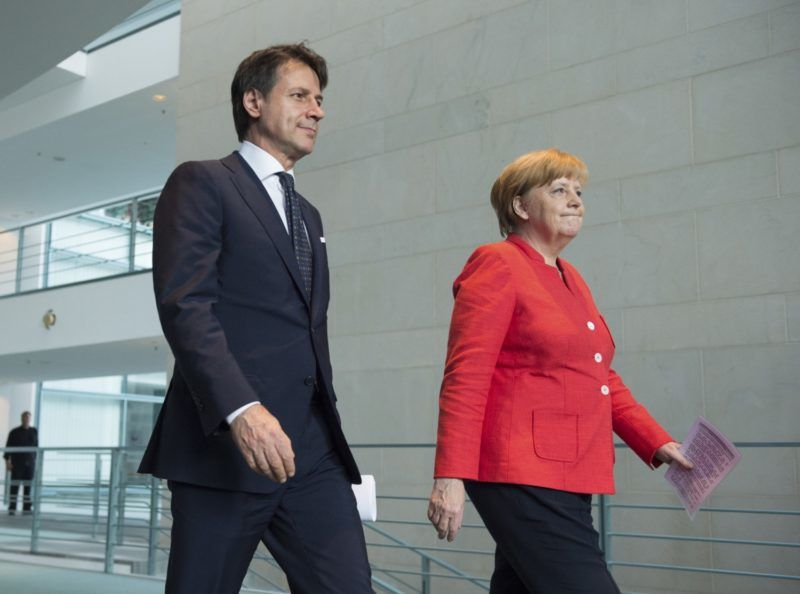 Prime Minister Giuseppe CONTE and Chancellor Angela MERKEL. Press statement by the Minister President of the Italian Republic and the Federal Chancellor during a visit to the Federal Chancellery in Berlin, Germany on 18.06.2018. | usage worldwide
