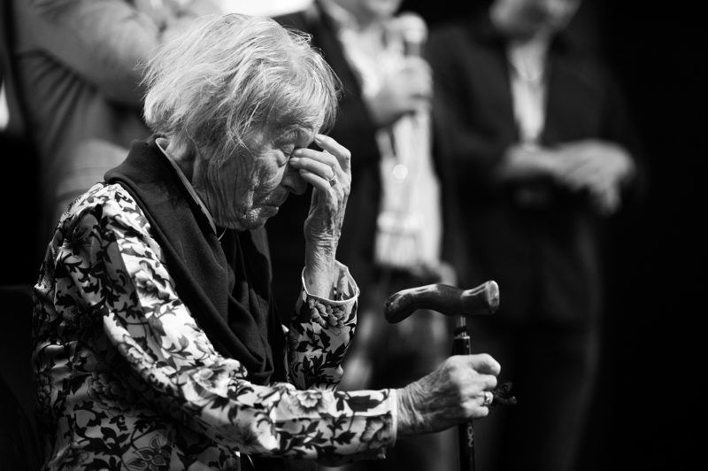 Brunhilde Pomsel, former secretary of NS propaganda minister Goebbels, seen after the premier of the film 'Eindeutsches Leben' (lit. A German Life) in Munich, Germany, 29 June 2016. Pomsel, who is now 105 years old, talks about her life in the documentary which premiered in Munich. Photo: Matthias Balk/dpa