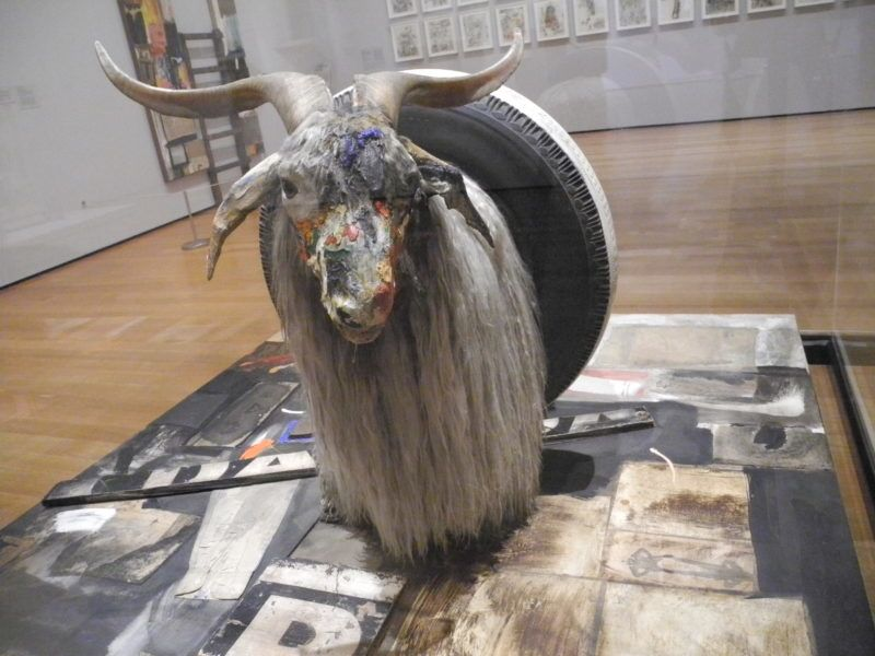 """The artwork """"Monogram"""" by US artist Robert Rauschenberg, part of a retrospective exhibition of Rauschenberg's work which opens on 21 May, at the Museum of Modern Art (MoMA) in New York, 16 May 2017. Photo: Johannes Schmitt-Tegge/dpa"""