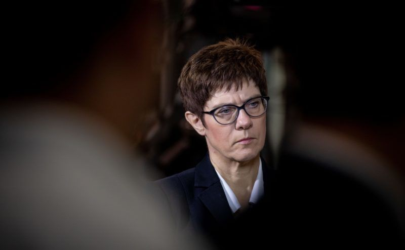 02 July 2018, Berlin: Annegret Kramp-Karrenbauer, CDU Secretary General, addresses media representatives in the Konrad-Adenauer-Haus before the party's committee meetings after the state elections in Hesse. Photo: Kay Nietfeld/dpa