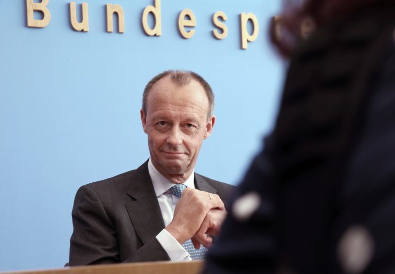 31 October 2018, Berlin: Friedrich Merz (CDU) making comments at a press conference on his candidacy for the office of party leader of the CDU. Photo: Wolfgang Kumm/dpa