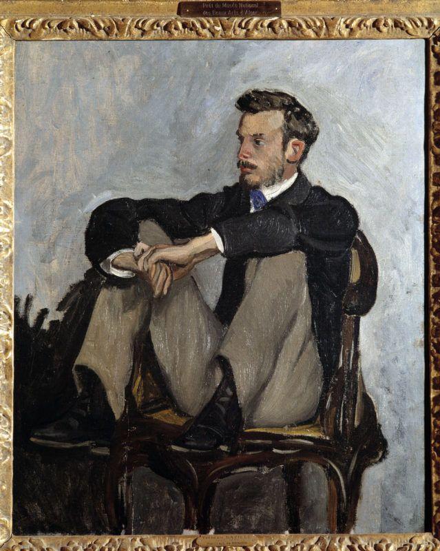 """""""Portrait du peintre Pierre Auguste Renoir (1841-1919)"""" Peinture de Jean Frederic Bazille (1841-1870) 1867. Dim. 0,62 x 0,51 m Paris, musee d'Orsay --- Portrait of the painter Pierre Auguste Renoir (1841-1919 ). Painting by Jean Frederic Bazille (1841-1870), 1867. 0,62 x 0,51 m. Orsay Museum, Paris ©Photo Josse/Leemage"""