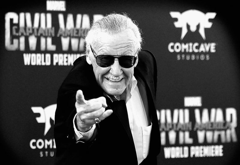 LOS ANGELES, CALIFORNIA - APRIL 12: (EDITORS NOTE: Image Converted from color to Black and White.) Stan Lee attends the premiere of Marvel's 'Captain America: Civil War' at Dolby Theatre on April 12, 2016 in Los Angeles, California.   Frazer Harrison/Getty Images/AFP