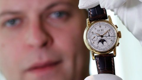 """FILE PHOTO: """"The Asprey"""", a Patek Philippe perpetual calendar chronograph watch reference 2499, is pictured during a press preview ahead of the upcoming auction at Sotheby's in Geneva November 7, 2018. REUTERS/Denis Balibouse/File Photo"""