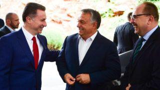 Ohrid, 2017. szeptember 28.Orbán Viktor miniszterelnök (k) és Nikola Gruevszki korábbi kormányfő, az ellenzéki jobboldali Belső Macedón Forradalmi Szervezet - Macedón Nemzeti Egység Demokratikus Pártja (VMRO-DPMNE) vezetője (b) találkozója Ohridban 2017. szeptember 28-án. Jobbra Németh Zsolt, az Országgyűlés külügyi bizottságának fideszes elnöke.MTI Fotó: Balogh Zoltán
