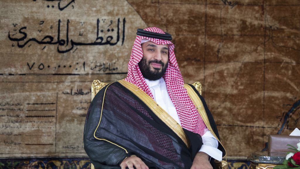 """A handout picture provided by the Saudi Royal Palace on November 27, 2018 shows Saudi Crown Prince Mohammed bin Salman being received by Egypt's president (unseen) at the presidential palace in Cairo. (Photo by Bandar AL-JALOUD / Saudi Royal Palace / AFP) / RESTRICTED TO EDITORIAL USE - MANDATORY CREDIT """"AFP PHOTO / SAUDI ROYAL PALACE / BANDAR AL-JALOUD"""" - NO MARKETING - NO ADVERTISING CAMPAIGNS - DISTRIBUTED AS A SERVICE TO CLIENTS"""