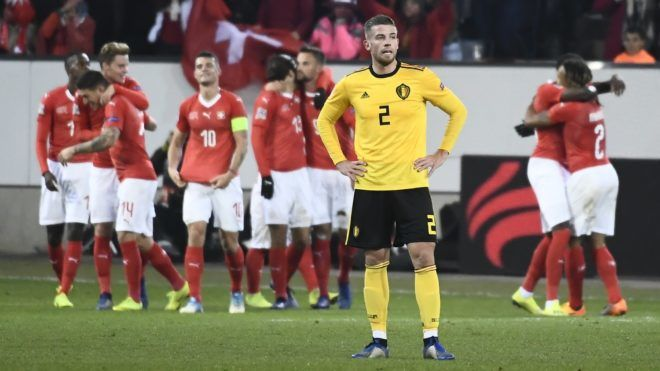 Belgium's Toby Alderweireld reacts after the 5-2 goal of Swiss Haris Seferovic at a soccer game between Switzerland and Belgian national team the Red Devils in Luzern, Switzerland, Sunday 18 November 2018, the last game in group 2 of the UEFA Nations League A competition. BELGA PHOTO DIRK WAEM