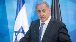 Israeli Prime Minister Benjamin Netanyahu  speaks prior to a meeting with German Defence Minister Ursula von der Leyen in Jerusalem, Israel, 12 May 2015. Foto: Michael Kappeler/dpa