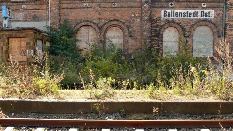 The picture shows the Ballenstedt-Ost station at the dead-end track Aschersleben-Quedlinburg, Germany, September 2007. Photo: Uwe Gerig