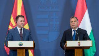 BUDAPEST, HUNGARY - NOVEMBER 20 :  Prime Minister of Macedonia Nikola Gruevski (L) and Prime Minister of Hungary Viktor Orban (R) attend a press conference after a meeting in Budapest, Hungary on November 20, 2015. Hungarian Prime Ministry Press Office / Anadolu Agency