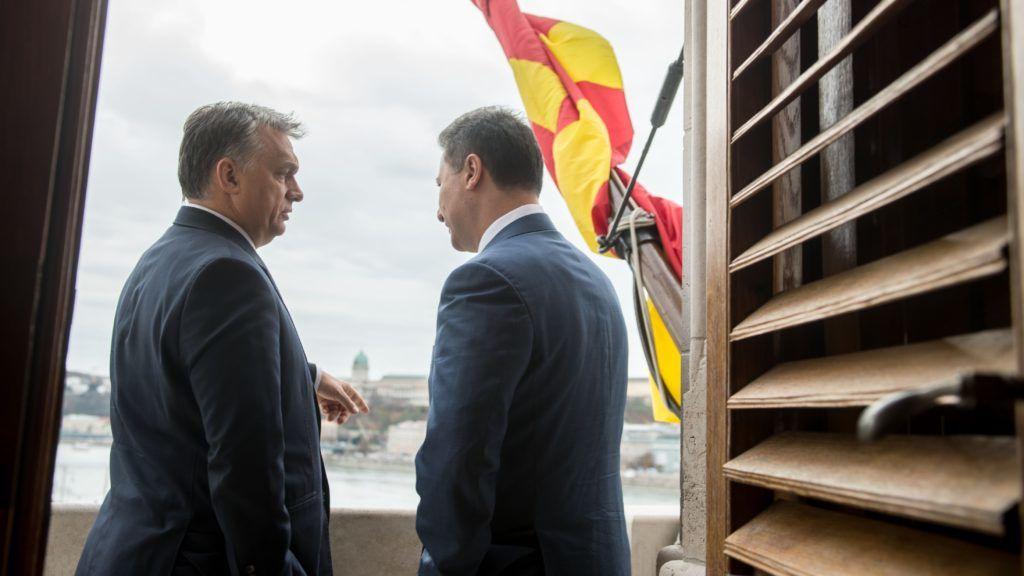 BUDAPEST, HUNGARY - NOVEMBER 20 :  Prime Minister of Macedonia Nikola Gruevski (R) and Prime Minister of Hungary Viktor Orban (L) attend a meeting in Budapest, Hungary on November 20, 2015. Hungarian Prime Ministry Press Office / Anadolu Agency