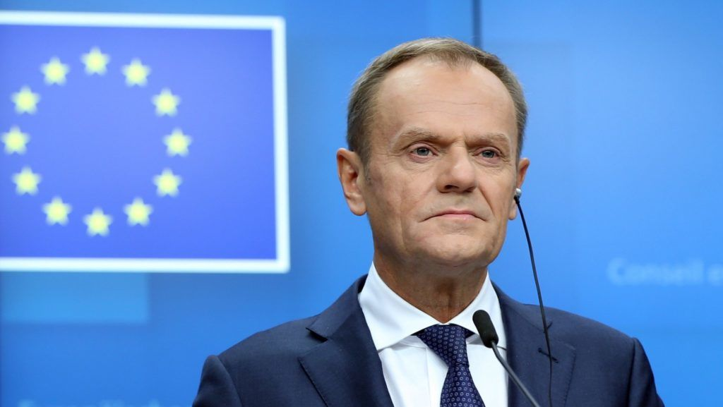 BRUSSELS, BELGIUM - NOVEMBER 25: European Council President Donald Tusk, EU Chief Brexit Negotiator Michel Barnier (not seen), President of the European Commission Jean-Claude Juncker (not seen) hold a joint press conference within the session of the European Council over Brexit, on November 25, 2018 in Brussels, Belgium.  Dursun Aydemir / Anadolu Agency
