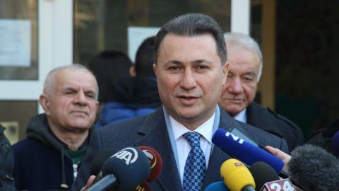 SKOPJE, MACEDONIA - DECEMBER 11: Macedonia's former prime minister and leader of the ruling VMRO DPMNE Nikola Gruevski speaks to media after casting his ballot at a polling station in Skopje during early general election on December 11, 2016. Macedonian voters head to the polls Sunday in early parliamentary elections to determine the new government for the next four years. Nearly 1.8 million registered voters will vote in the country's fourth snap elections since 2008 in  3,480 polling stations and 46 abroad. According to the electoral commission, 1,092 candidates are racing for 123 seats in the Macedonian parliament. Vedat Abdul / Anadolu Agency