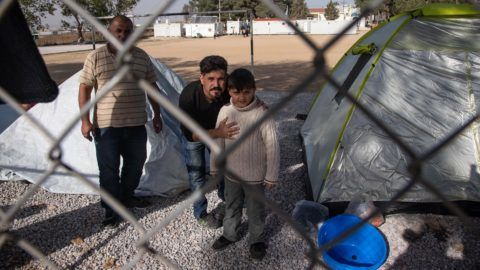 Tents of newcomers in Diavata Refugee Camp, Greece, on 2 November 2018. Diavata Refugee Camp is a converted former military camp with the name Anagnostopoulou near Diavata town. The camp works near or over its capacity. Registered refugees live in prefabricated houses, but there are every day new arrivals of refugees that are staying in tents as there isn't any space left. (Photo by Nicolas Economou/NurPhoto)